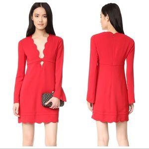 A.L.C. Eve Dress in Crimson Plunge Neck